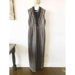 Tory Burch Silk Smocked Maxi Gown sz 12